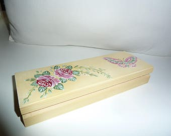 Yellow Pencil box, wood, with a butterfly and floral decor
