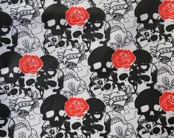 """Black and white pvc coated fabric pattern """"Skull"""" 50 * 47cms"""