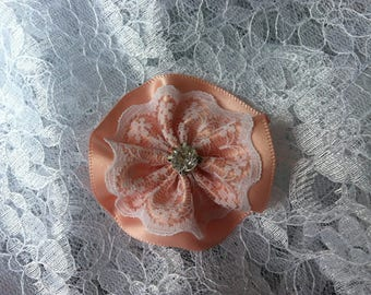 Flower 5 cm satin Pink/salmon lace and rhinestones