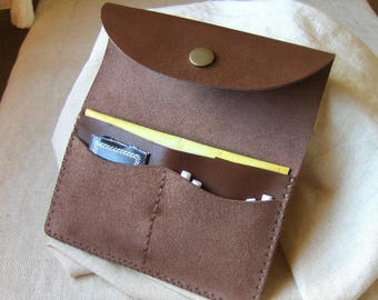 Mocha brown leather tobacco pouch