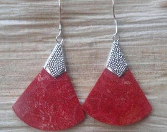 Earrings coral and silver engraved 925 hallmark