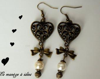 "Earrings ""My pretty CŒUR"" metal bronze."