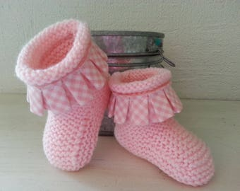 Small pale pink boots 6-9 months feet below with a bias pleated coordinated