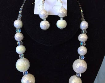 Mother of Pearl Beaded Necklace and Matching Earrings