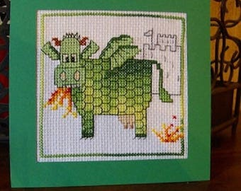 Hand embroidered card: the cow-dragon