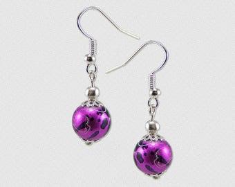 Creation Kit earrings magenta drawbench beads