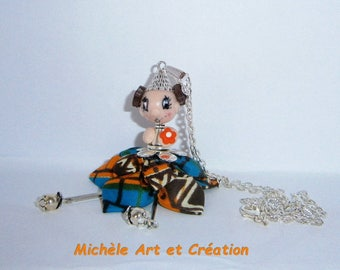 Miss Choupette in ORANGE and Brown polymer clay