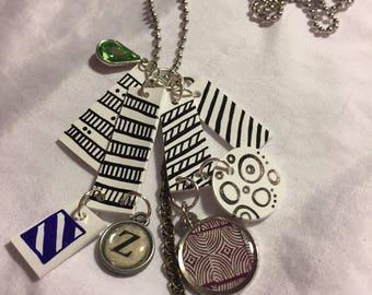 Black/white shrinky dink pendant necklace