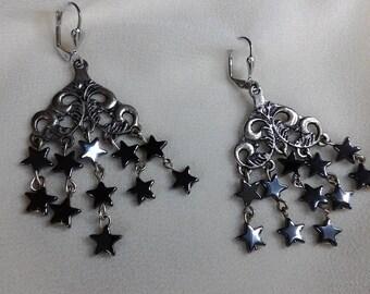 Dangle earrings hematite stars