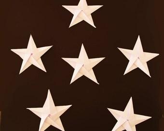 Set of 6 white origami stars