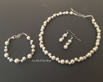 Set 3 pieces CYRIUS necklace, bracelet & earrings in ivory