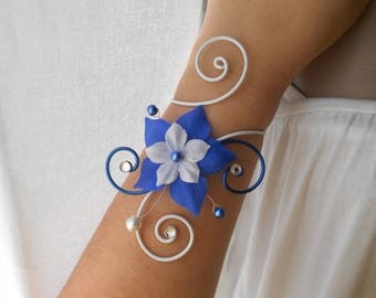"""LYRA"" wedding silk flower with white & Royal Blue bracelet"