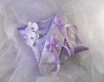 Purple/lavender & white cushion