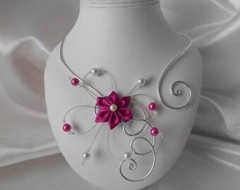 BELLA flower bridal silver & fuchsia