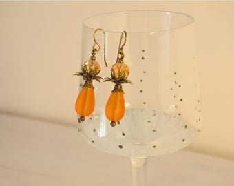 Tangerine orange earrings, Seaglass, elegant petals bronze drop beads
