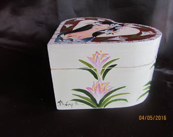 completely hand painted heart shaped box