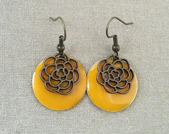 Bronze yellow flower sequin earrings