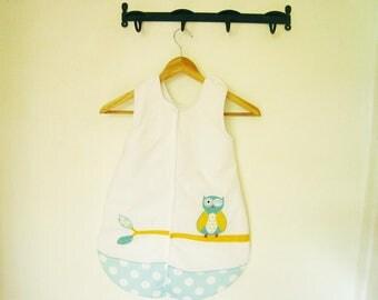 Sleeping bag 1 age theme blue and white OWL