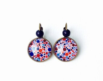 Bronze earrings * cabochon * red and blue dots