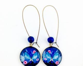 Long bronze earrings - Butterfly-Blue Black Pearl cabochon