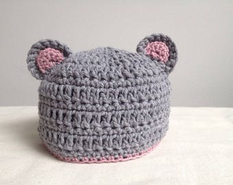 Gray and pink Teddy bear baby Hat