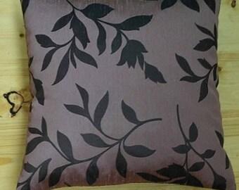 "Decorative pillow case with floral pattern, purple color, 18""x18"""