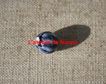 ceramic bead handmade Baltic amber 10 mm blue striped