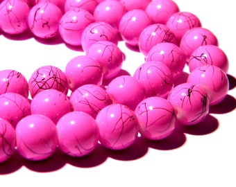 20-10 mm fuchsia purple PG265 3 marbled speckled glass beads