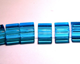 translucent glass - 8 mm-blue-PG50 cube 20 beads