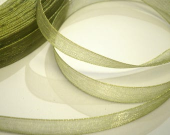 10 m 10 mm olive green organza Ribbon