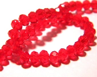"45 Pearl glass abacus faceted - 4 x 3 mm - way ""jade"" - red-PG119"