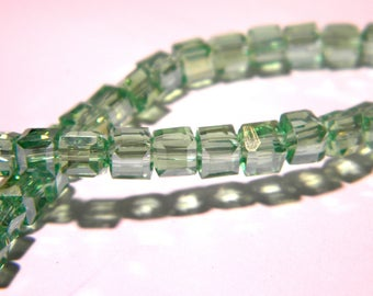 20 plated glass beads AB - 4 mm cube - iridescent faceted pale green - PG169-4