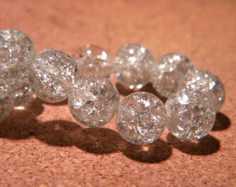 50 10 mm - clear - PF66 Crackle glass beads