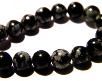 20 natural pearls - 6 mm - Obsidian snowflake - gems-gemstones - PG222