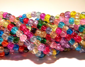 100 glass Crackle beads - 4 mm Pearl glass - Crackle - multicolored - G137