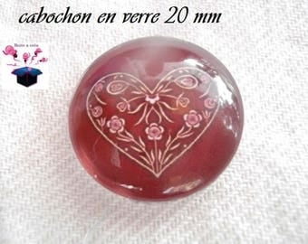 1 cabochon clear 20mm heart Burgundy background theme