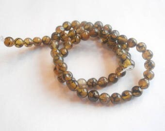 1 strand of 65 6 mm Brown striped agate beads