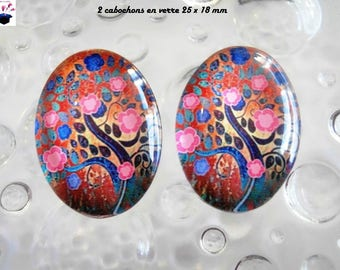 2 cabochons glass 25mm x 18mm tree of life theme