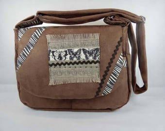 Shoulder bag brown suede ethnic pattern