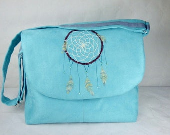 Shoulder bag, dreamcatcher, blue suede