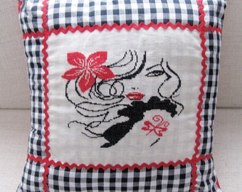 Square cushion woman with red hibiscus