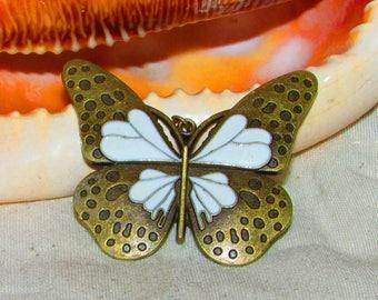 Enameled Butterfly bronze 5.5x4.5 cm pendant