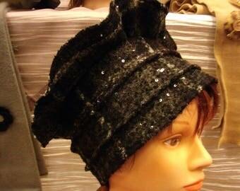 Sparkly Black wool beret Beanie hat.