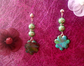 Fimo flower and Pearl Earrings