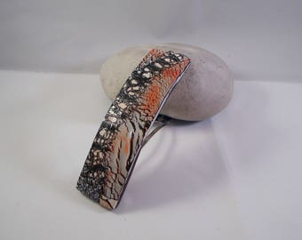 hair clip polymer clay called red, black, white and gray tones