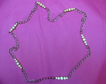 """Silver chain necklace / pearls """"magic"""" light green"""