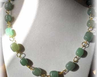 Square beads necklace dull green with different color tones