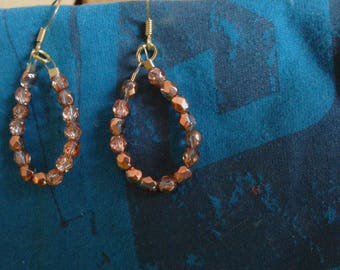 Copper-coloured and transparent beads Teardrop Earrings
