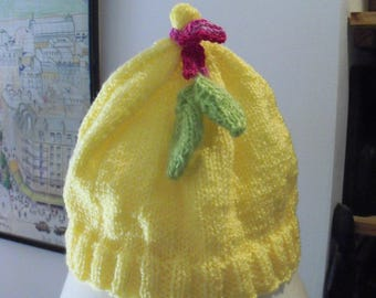 Beanie Hat knitted baby Pixie shape 3-6 months
