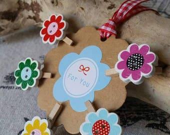 Mini flower clips multicolored set of 5